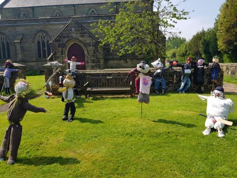 scarecrows displayed on judging day 2018
