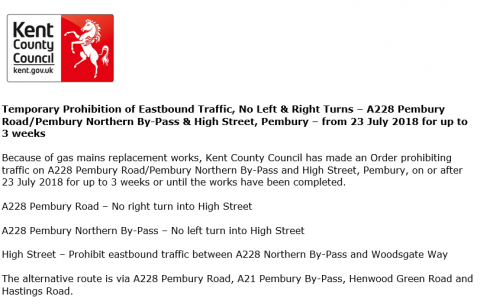 Temporary road Closure – 23 July 2018, Pembury Parish Council