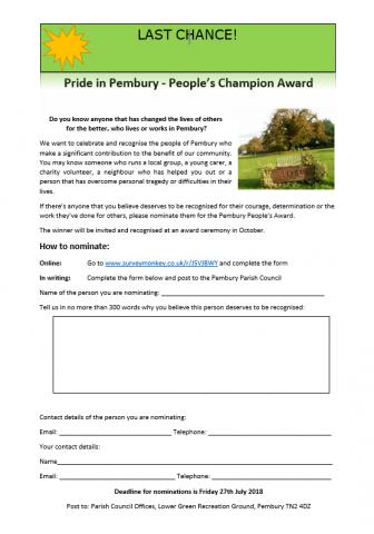 Pride in Pembury 2018 – People's Champion Award, Pembury Parish Council