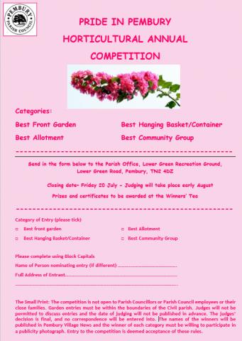 Pride in Pembury 2018 – Horticultural Competition, Pembury Parish Council