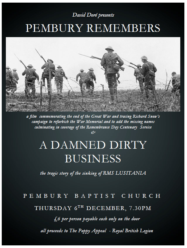 poster for showing of film for Remembrance day 2018