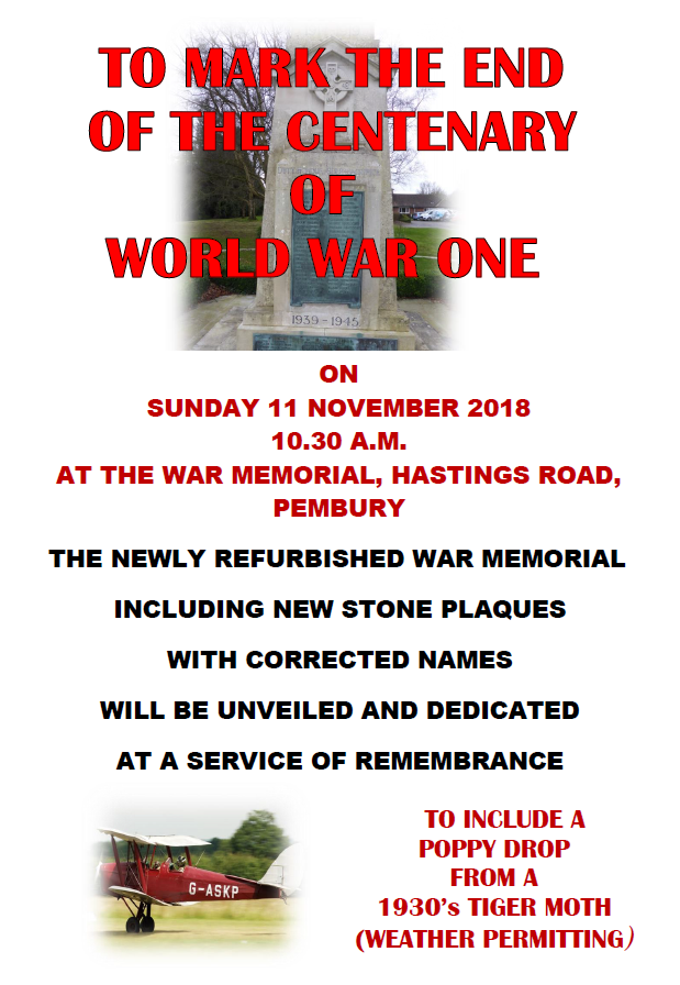 poster for remembrance service 2018