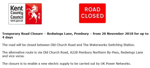 Temporary Road Closure – Redwings Lane, Pembury Parish Council