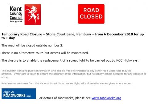 Temporary Road Closure – Stone Court Lane, Pembury Parish Council