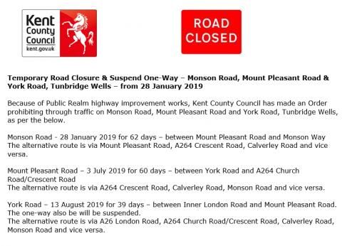Temporary Road Closures in Tunbridge Wells from 28 January 2019, Pembury Parish Council