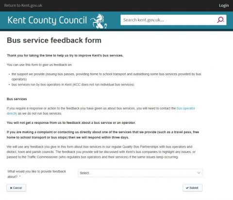 KCC introduced new Bus Feedback portal, Pembury Parish Council