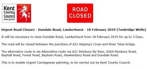 Temporary Road Closure, Pembury Parish Council