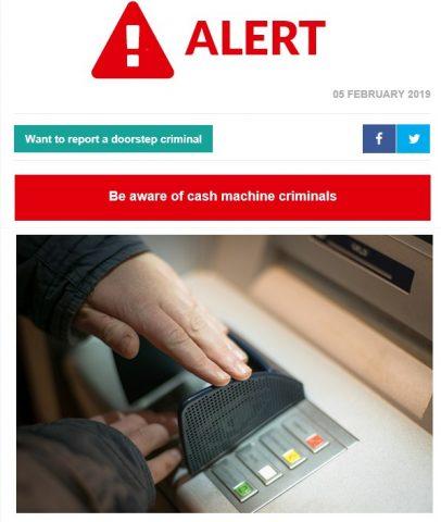 Alert – Cash machine criminals, Pembury Parish Council