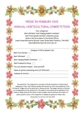 Pride in Pembury Competition 2019, Pembury Parish Council