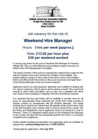 Job Vacancy – Weekend Hire Manager – Pembury Village Hall, Pembury Parish Council