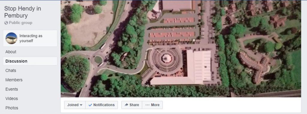 Screenshot of Facebook page for Stop Hendy in Pembury