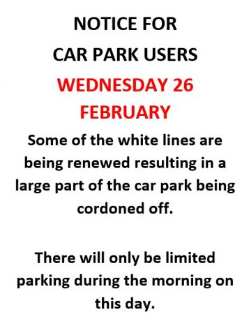 Poster for partial closure of Lower Green Rec car park
