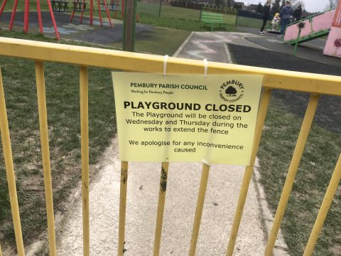 Playground closed poster on gate