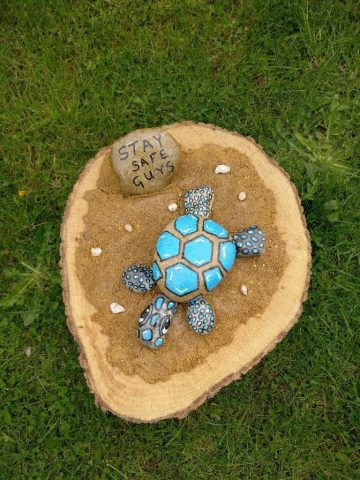 Pembury painted rock - rocks combine to make a tortoise