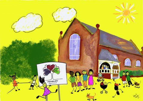 Drawing of Baptist church