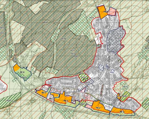 Map of development sites in Pembury